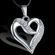 Unisex Men Women Stainless Steel Crystal Heart Pendant Necklace Leather Chain