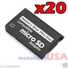 Lot x 20 Memory Stick Pro Duo Adapter Micro SD SDHC TF Card Reader for Sony PSP
