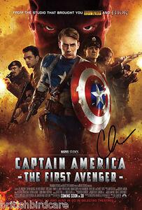 CAPTAIN-AMERICA-Chris-Evans-SIGNED-Repro-AUTOGRAPH-MOVIE-POSTER-A2-594-x-420mm