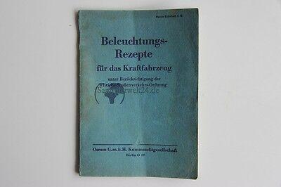 Vecchio Libro Di Illuminazione Ricette Per Autoveicoli Osram Per 1937-