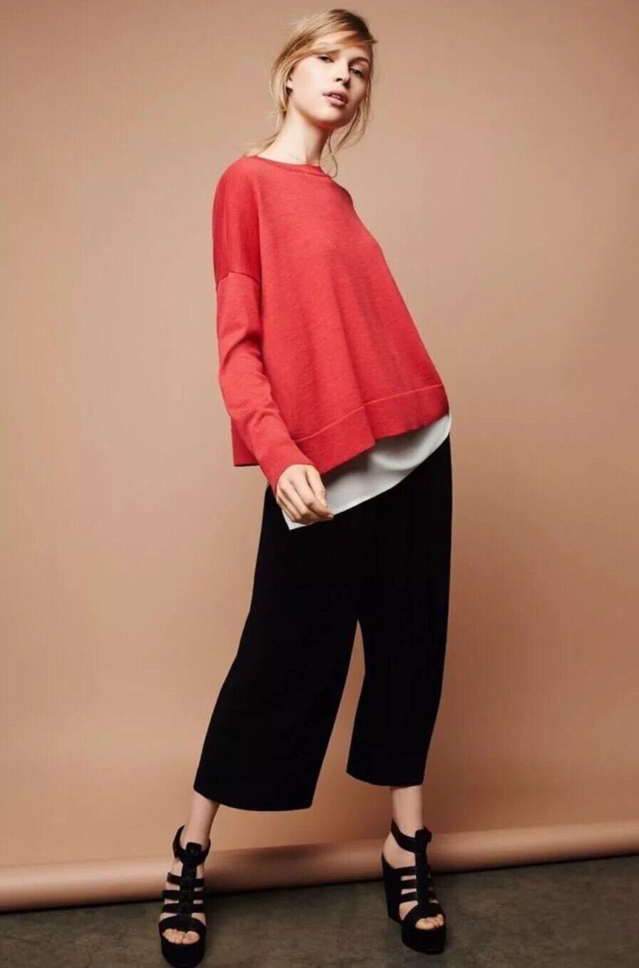 Nuevo Eileen Fisher italiano 100% Lana Merino Slouchy Caja Superior Superior Superior Suéter agridulce L 39404d