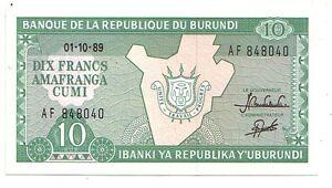 Burundi-10-franchi-1-10-1989-FDS-UNC-Pick-33-b-Lotto-2989