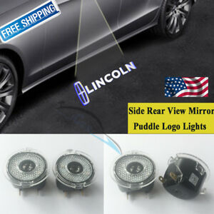 Led No Drill Side Rear View Mirror Puddle Logo Light For