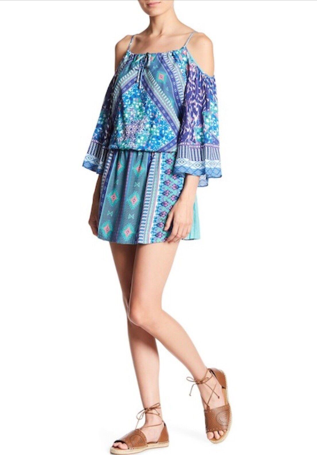 Hale Bob - Cold-Shoulder Blouson Dress Size Small Purple bluee