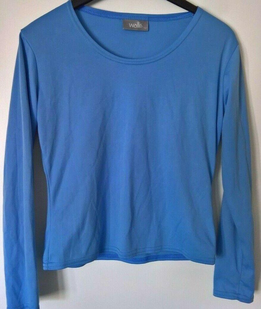 WALLIS: Blue, long-sleeve, workout top, flexible, size 12