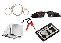 10pcs Emergency Survival Camping Hunting Kit Fire Starter Saw Blanket Ice Hockey