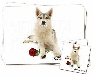 Utonagan-avec-Rose-039-Love-You-Mum-039-Simple-2x-Set-de-table-2x-Sous-verre-Se
