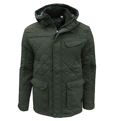 Soul Star Men's Hundred Hooded Quilted Jacket Coat Khaki Medium