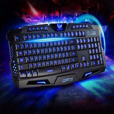 Gaming Tastatur Keyboard LED Beleuchtet Rücklicht Gamer USB Kabel für PC Laptop