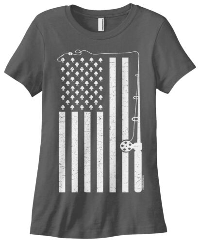 Threadrock Women/'s Fishing American Flag T-shirt USA Fish Fisherman