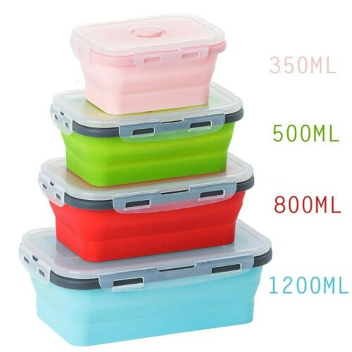 4 Sizes Collapsible Silicone Food Container Tupperware Microwave Outdoor Storage