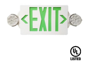 LED-GREEN-Exit-Sign-Emergency-Light-Hi-Output-Compact-Combo-UL-listed