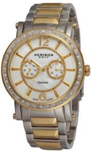 Akribos-XXIV-AK465YG-Swiss-Quartz-Day-Date-Diamond-Accented-Twotone-Mens-Watch