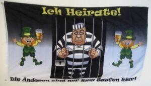 Fahne Flaggen ICH HEIRATE JUNGGESELLENAB<wbr/>SCHIED / 150x90cm TDShop24