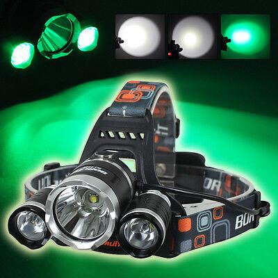 BORUIT 9000LM XML T6 White+2R2 Green LED Rechargeable Hunting Headlamp Headlight