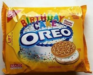 NEW Nabisco Oreo Birthday Cake Flavor Creme Cookies FREE WORLDWIDE