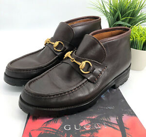 Gucci-Authentic-Vintage-Horsebit-Loafer-Ankle-Boots-Brown-Leather-7-5-Narrow