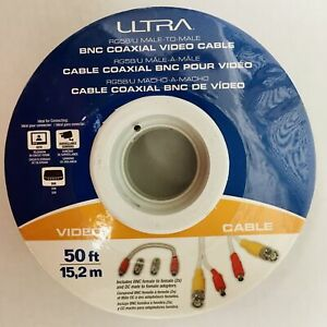 ULTRA RG58/U Male-to-Male BNC Coaxial Video Cable 50 ft. NEW NIP