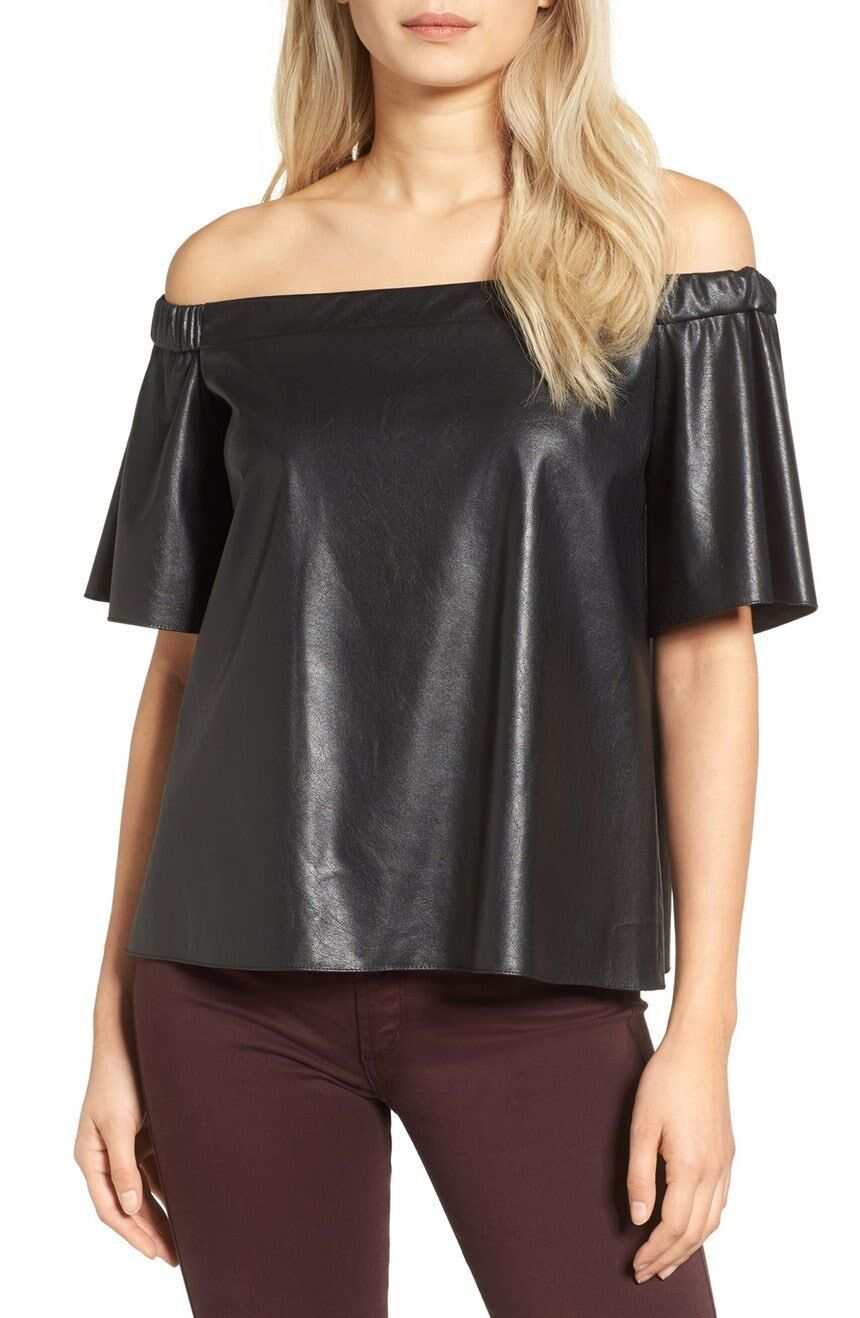BAILEY 44 CINDY FAUX LEATHER TOP