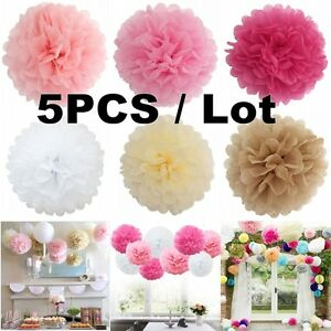 5pcs wedding party diy tissue paper pompoms pom poms flower balls image is loading 5pcs wedding party diy tissue paper pompoms pom mightylinksfo