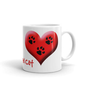 Tripod Cat Mug with Hearts and 3 Paw Prints. For Lover of 3 Legged Cat Amputee
