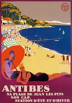 TX359 Vintage Antibes France French Broders Travel Railway Poster Print A2//A3//A4
