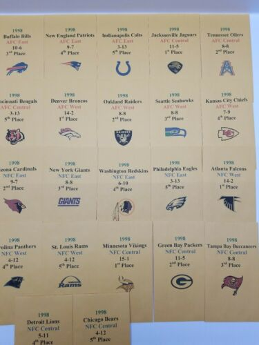 1998 Strat-O-Matic Football Printed Storage Envelopes with Stats and Team Logo