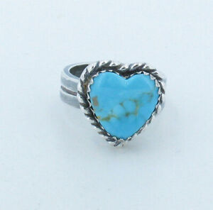 Silver Turquoise Heart Ring size 6