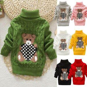 Infant-Toddler-Kids-Baby-Girls-Boy-Bear-Print-Sweater-Knit-Crochet-Tops-Outfits