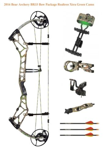 Nouveau BEAR ARCHERY BR33 55-70# droitier Compound Bow Paquet Realtree Xtra Green