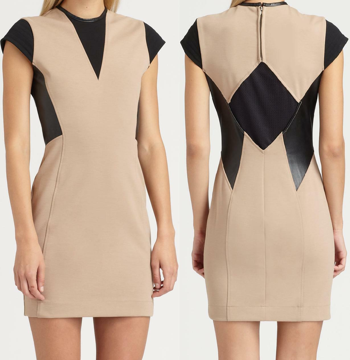NWT Cut 25 by Yigal Azrouel Leather Trim Ponte Dress Size 4