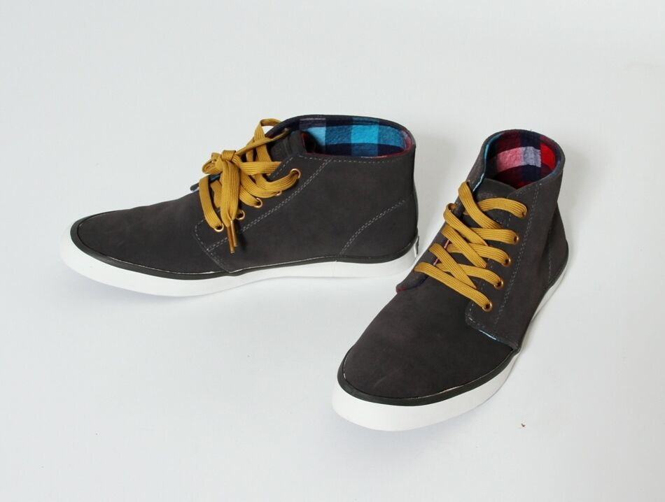 J.Fabian Herren Schuhe Ricky Mid High Top Sneaker grau Halbschuh Freizeit Canvas