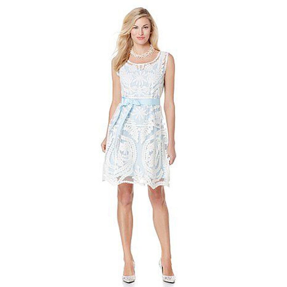 QVC EUREKA by CHRISTINE GARKINOS  Cinderella  Lace Mesh Dress BABY blueE SLIP S