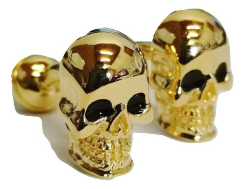 2pcs Men/'s Pair of Cufflinks Skull Silver Gold Gift