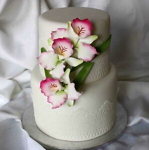 Details About Sugar Butterfly Orchid Flower Medium Cake Topper Wedding Cake Birthday Party