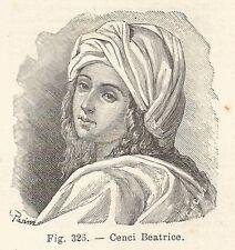 B1709 Beatrice Cenci - Incisione antica del 1924 - Engraving
