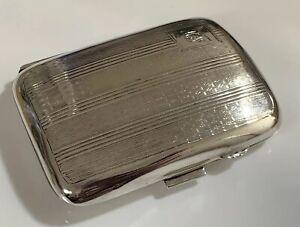 Beautiful-Art-Deco-1931-Birmingham-Hallmarked-Silver-Cigarette-Case-J-H-Wynn-49g
