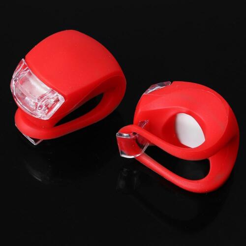 2X LED Bicycle Cycling Frog Front Rear Flash Light Warning Lamp GEL Silicone Red