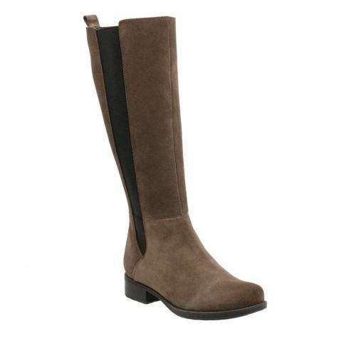 NEW Clarks Ladies Grey Suede Expandable Leg Flat Knee High Long Boots size 4 37