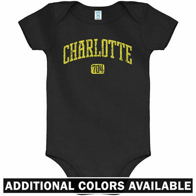 Charlotte 704 One Piece Hornets Panthers NC Baby Infant Creeper Romper NB-24M