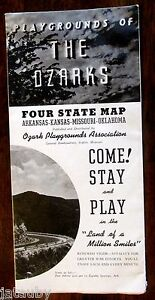 State Map Of Kansas And Oklahoma.Vintage 1943 Ozarks Four State Map Arkansas Kansas Missouri Oklahoma