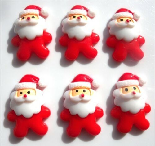 NEW! 6 CUTE FATHER CHRISTMAS GORGEOUS FLATBACK CABOCHONS RESIN FREE P/&P