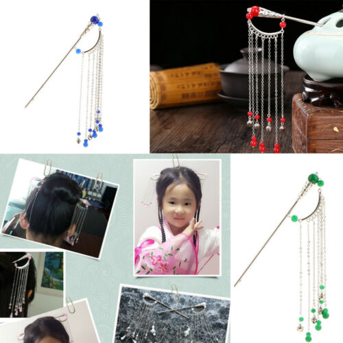 Details about  /Long Tassel witg Beads Ancient Chinese Cosplay Drama Hair Stick Pin Pick