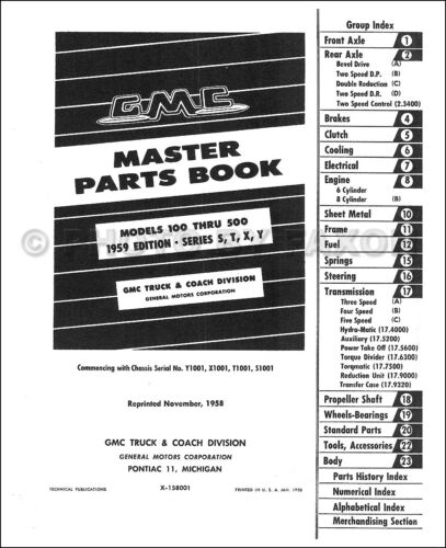 GMC Parts Book 1959 1958 1957 1956 1955 2nd Series Truck Illustrated Catalog