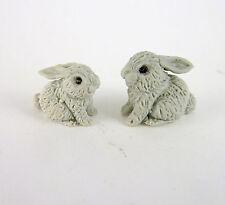Dollhouse Miniature Fairy Garden Tiny Grey Bunny Rabbits Pair, MF023