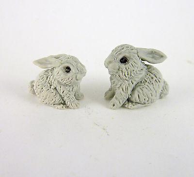 MF023 Dollhouse Miniature Fairy Garden Tiny Grey Bunny Rabbits Pair