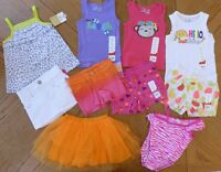 2t Girls Colorful Summer Clothes Lot Swimsuit Shorts Tops Orange Pink