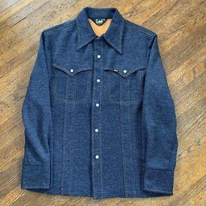 Vintage-70s-Mr-Lee-Pearl-Snap-Navy-Blue-Western-Shirt-Denim-look-Men-s-Size-L