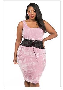 plus size crush velvet lace corset sleeveless tank dress