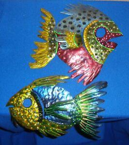 LOT OF 2 FISH METAL WALL ART SCULPTURES BARBARA ANGLESCY